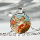 Girl Angel Tibet silver Dome Glass Cabochon Necklace chain Pendant 159