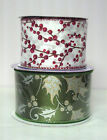 LOT 2 ROLLS 2 1 2 INCH WIRED EDGE CHRISTMAS RIBBON NEW UNOPENED 10 YARDS EACH