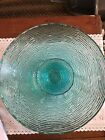 Vintage Anchor Hocking Glasd Mid Century Turquoise Teal Blue Soreno Chip And Dip