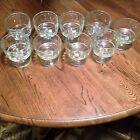 Vintage Clear  Pedestal Juice Glasses set of 9 Excellent Condition