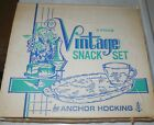 Vintage Anchor Hocking Snack Set Grapes 2 Sets of 4 Ea 8 Trays 8 Cups NIB NOS