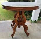 oval Table, white marble, solid walnut,Th Brooks, Renaissance, c1870, 36