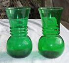 Pair 2 Vintage Forest Green Glass Vases Anchor Hocking 6.5