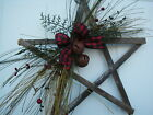 Rustic Holiday Christmas Wood Star - Rusty Bells Farmhouse Primitive Wall Decor