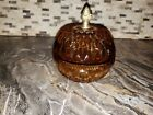 Vintage Amber Glass Candy Dish With Lid And Brass Finial