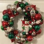 Vintage Glass Christmas Ornament Wreath Frosty The Snowman Red Silver Green