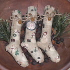 3 Primitive Grungy Christmas Snowman Stockings Bowl Fillers Ornies Ornaments
