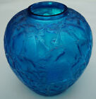 A Vintage and Rare Rene Lalique Blue Glass Perruches Vase 1924 cracked glued