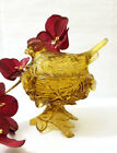 Vintage Amber Depression Glass Bird in Nest Glass Candy Dish - EUC