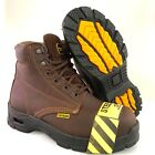 MENS WORK BOOTS STEEL TOE GENUINE LEATHER LACE UP SAFETY OIL RESISTANT BROWN