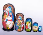 Nativity Russian wooden nesting dolls matryoshka hand painted 16cm 5pcs