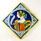 MID-20TH C VINTAGE 'DERUTA' ITALIAN FIGURATIVE HAND PAINTED GLAZED CERAMIC TILE