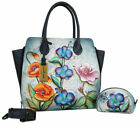 Womens Anuschka Leather Hand Painted Floral Tote Cross Body Hobo Satchel handbag