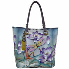 Womens Anuschka Leather Hand Painted Tranquil Pond Hobo Tote Shopper Handbag