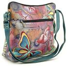 Anuschka Leather Hand Painted Butterfly Cross Body Bag Satchel Hobo Tote Handbag