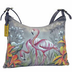 Anuschka Leather Hand Painted Flamingos Hobo Shoulder Handbag + Coin Wallet