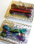 2 Dog BONE Art Glass Dichroic Collar Fused Handcrafted Signed FREE Gift Boxes