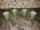 4 Vintage Anchor Hocking Fire King Ware Avocado Green 8 oz Coffee Cups / Mug USA
