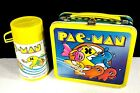 Vintage 1980 Pac Man Metal Lunch Box Matching Thermos 80s craze Bally Aladdin