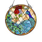 Peacok Bird Round Stained Glass Hanging Window Panel Tiffany Style Suncatcher