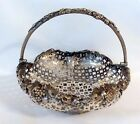 quality Antique silverplare open work basket with grape leaf rim