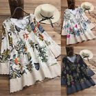 Womens Long Sleeve Linen Loose Dress Ladies Floral Print T-shirt Dress Plus Size
