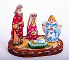 Wooden Nativity scene Christmas ornaments set hand painted carved 5 1 2