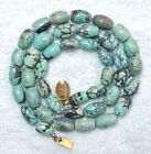 VINTAGE ANTIQUE CHINESE GENUINE NATURAL TURQUOISE BEADS NECKLACE 21 INCHES LONG