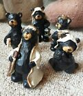 Northwoods Bears Nativity Figures Carved Look 5 Piece Christmas Cabin Art Set