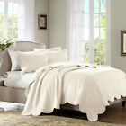 BEAUTIFUL CLASSIC COZY COTTAGE SCALLOPED CREAM IVORY OFF WHITE SOFT QUILT SET