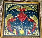 ANTIQUE LACEWORK NEEDLEPOINT EMBROIDERY Nativity Angels Shepards Christmas