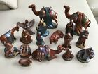 VINTAGE HOLLAND MOLD NATIVITY FIGURES 17 PIECES PAINTED CERAMIC 1970S