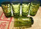 5 Vintage Indiana Glass Green Kings Crown Thumbprint Green Tumbler Avocado Olive