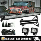 52inch 1080W LED Light Bar+2x 18W Pods+ Bracket +12 07 17 Jeep Wrangler JK