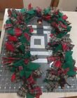 Country,  Christmas.Primitive 6' Rag Garland w/Vintage Spools and Wood Ornament