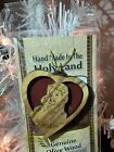 Olive Wood BETHLEHEM Heart Nativity Christmas Ornament made Holy Land Jerusalem