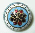 ANTIQUE FRENCH ART NOUVEAU BUTTON - COLORFUL ENAMEL DOME w FLOWER TOP - 5/8