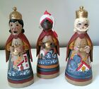 Vintage 7 Mexican Folk Art CLAY Pottery NATIVITY 3 Wisemen