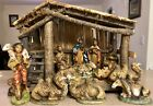 Vintage 13 Piece Nativity Scene Made in Italy 14 x 10 x 7 Manger