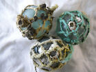 3 Authentic Beach Combed Japanese Glass Fishing Floats With Attached Barnacles