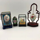 4 Vintage Chinese Hand Painted Egg Glass Cloisonne With Case Stand Hanging