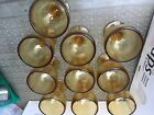 vintage Yellow Amber Footed Drinking Glasses Iced Tea Lot of 10 Excellent cond
