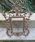 Antique Cast Metal Gilt Picture Frame Swing Foot Scroll Leaves 4x6