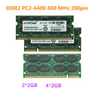 4GB 8GB DDR2 PC2 6400S 800 MHz 200pin Laptop SODIMM Memory OEM For Curcial USA