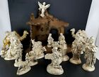 18 Piece Atlantic Mold White Gold Ceramic Christmas Nativity Set w Wood Manger