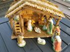 Vintage Nativity Set 12 piece Sears Roebuck Hand Painted Porcelain Wood Stable