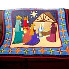Nativity Quilt Wall Hanging Hand Sewn Throw 50 x 55 Home Made Manger Scene