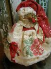 PRIMITIVE SNOWMAN DOLL ANTIQUE QUILT, RHINESTONE PIN ,FOLK ART SNOWMAN DOLL