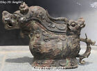Rare Chinese Ancient Dynasty Bronze Dragon Lion Beast Zun Drinking Vessel