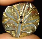 GORGEOUS ANTIQUE MOTHER OF PEARL MOP BUTTON w GOLD FILLED INCISED CARVED TREE